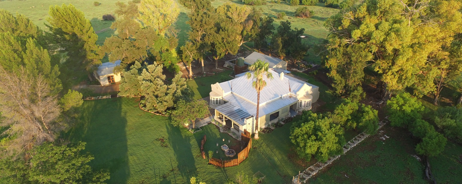 Location at Grootvallei. Accommodation in Free State, South Africa. Beautiful drone footage of the old farm house at Grootvallei.